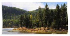 Salmon Lake Montana Beach Towel by Susan Kinney
