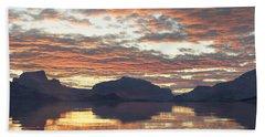 Beach Towel featuring the digital art Salmon Lake Sunset by Mark Greenberg