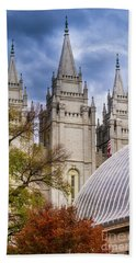Beach Towel featuring the photograph Salt Lake Lds Temple And Tabernacle - Utah by Gary Whitton