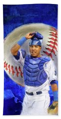 Beach Towel featuring the mixed media Salvador Perez-kc Royals by Colleen Taylor