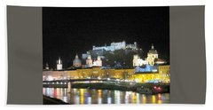 Salzburg At Night Beach Towel
