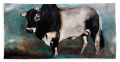 Beach Towel featuring the painting Samson The Master Champion Herd Sire Miniature Zebu by Barbie Batson