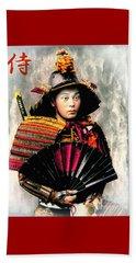 Samurai 1898 With Iron Fan Beach Sheet