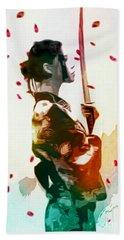 Samurai Girl - Watercolor Painting Beach Towel
