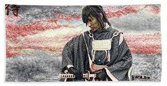 Samurai Warrior Beach Towel