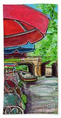 Beach Towel featuring the painting San Antonio River Walk Cafe by TM Gand