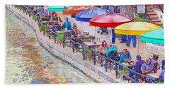 San Antonio Riverwalk Umbrellas Beach Sheet