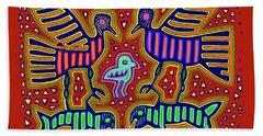 Beach Towel featuring the digital art San Blas Kuna Bird Family With Fish by Vagabond Folk Art - Virginia Vivier