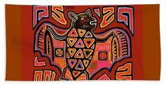 Beach Towel featuring the digital art San Blas Kuna Indian Bat by Vagabond Folk Art - Virginia Vivier