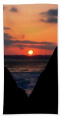 San Clemente Beach Rock View Sunset Portrait Beach Towel by Matt Harang