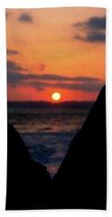 San Clemente Beach Rock View Sunset Portrait Beach Towel