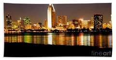 San Diego Skyline With Reflections On Mission Bay Beach Towel