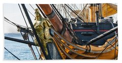 San Diego Embarcadero - Hms Surprise Figurehead Beach Towel