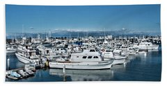 Beach Towel featuring the photograph  San Diego Marina And City Skyline by Daniel Hebard