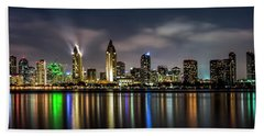 San Diego Skyline At Night Beach Towel