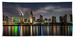 San Diego Skyline At Night Beach Sheet