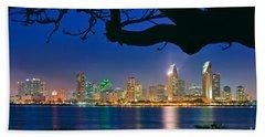 San Diego Skyline From Bay View Park In Coronado Beach Towel