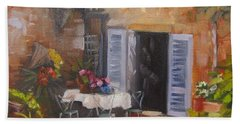 Beach Sheet featuring the painting San Donato Village Italy by Chris Hobel