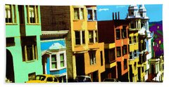 San Francisco Pop Art Blue Green Red Yellow Beach Towel