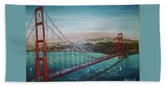 San Francisco And The Golden Gate Bridge Beach Sheet by Jay Milo