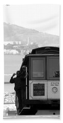 San Francisco Cable Car With Alcatraz Beach Towel