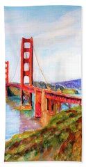 San Francisco Golden Gate Bridge Impressionism Beach Towel