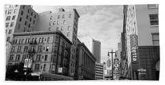 San Francisco - Jessie Street View - Black And White Beach Towel by Matt Harang