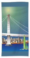 San Francisco New Oakland Bay Bridge Cityscape Beach Towel