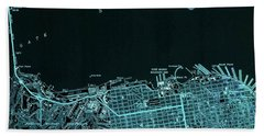 San Francisco North Old Map Year 1947 Blue Artwork Beach Towel
