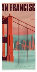 San Francisco Retro Travel Poster Beach Sheet