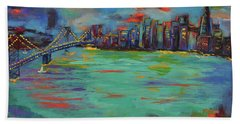 San Francisco Skyline In Sunset Beach Towel