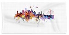 San Francisco Watercolor Skyline Beach Towel by Marian Voicu