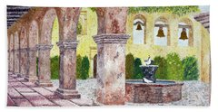 San Juan Capistrano Courtyard Beach Towel by Laura Iverson