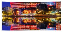 San Mames Stadium At Night With Water Reflections Beach Towel
