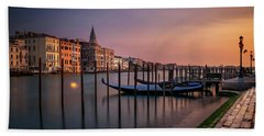 San Marco Campanile With Gondolas At Grand Canal During Calm Sunrise, Venice, Italy, Europe. Beach Towel