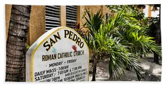 San Pedro Roman Catholic Church Beach Sheet by Lawrence Burry