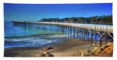 San Simeon Pier California Coast Beach Towel by James Hammond