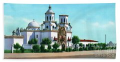 San Xavier Del Bac Mission Beach Sheet by Walter Colvin