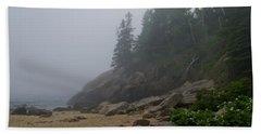 Sand Beach In A Fog Beach Towel