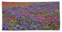 Beach Towel featuring the photograph Sand Bluebonnet And Paintbrush by Tim Fitzharris