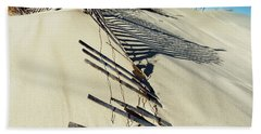 Beach Towel featuring the photograph Sand Dune Fences And Shadows by Gary Slawsky