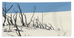 Beach Towel featuring the photograph Sand Dune With Dead Trees by Chevy Fleet