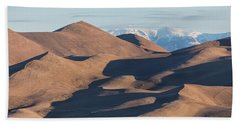 Sand Dunes And Rocky Mountains Panorama Beach Sheet by James BO Insogna