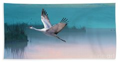 Sandhill Crane And Misty Marshes Beach Towel