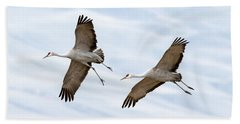 Sandhill Crane Approach Beach Towel by Mike Dawson