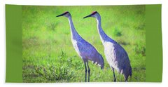 Sandhill Crane Couple Beach Towel