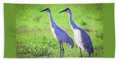 Sandhill Crane Couple Beach Sheet