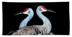 Sandhill Crane Mirror Image Beach Sheet