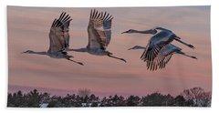 Sandhill Cranes In Flight Beach Sheet