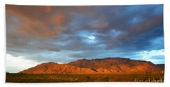 Sandia Mountains Colorful Sunset Beach Towel by Andrea Hazel Ihlefeld